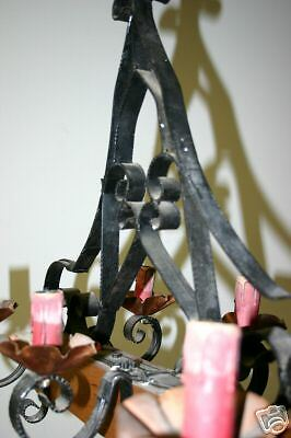 A  French wooden/wrought-iron 6 light castle chandelier 8