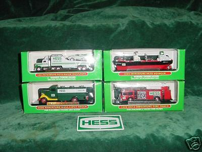 TOYS FOUR MINIATURE HESS TRUCKS MINT IN BOX 1999 - 2002