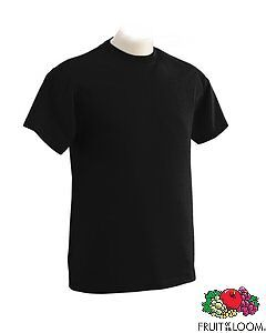 48 Fruit of the Loom Heavy Cotton PLAIN Black T Shirts