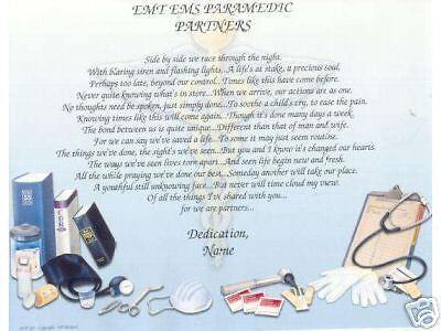 PARAMEDIC EMS EMT Poem Prayer Personalized Name Print