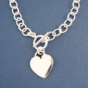 Oval Link Sterling Silver Med Heart Charm Bracelet